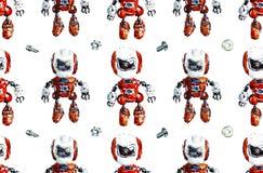 Reticolo senza giunte con i robot Illustrazione disegnata a mano dell'acquerello illustrazione di stock