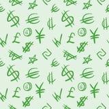 Reticolo senza giunte con i simboli di valuta. Fotografia Stock