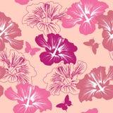 Reticolo senza giunte con il fiore tropicale Fotografie Stock Libere da Diritti