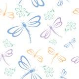 Reticolo senza giunte con la libellula ed il fiore Immagini Stock Libere da Diritti