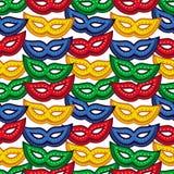 Reticolo senza giunte con le mascherine di carnevale Clipart del quadro televisivo Fotografie Stock Libere da Diritti