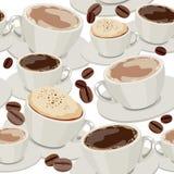 Reticolo senza giunte con le tazze di caffè Fotografie Stock Libere da Diritti