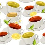 Reticolo senza giunte con le tazze di tè Fotografie Stock Libere da Diritti