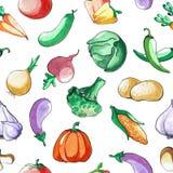 Reticolo senza giunte con le verdure Acquerello del disegno della mano Il colpo è fatto con inchiostro Priorità bassa di verdure Fotografia Stock Libera da Diritti