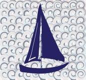 Reticolo senza giunte con una barca illustrazione di stock