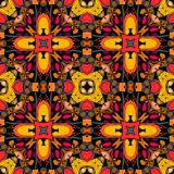 Reticolo senza giunte decorativo Ornamento etnico luminoso Fiori geometrici multicolori Illustrazione tribale di vettore Immagini Stock