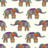 Reticolo senza giunte degli elefanti Priorità bassa variopinta Anima di tiraggio della mano Immagini Stock
