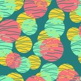 Reticolo senza giunte dei cerchi variopinti Fondo geometrico nei colori d'avanguardia: pallido - rosa, blu navy, menta, corallo d illustrazione vettoriale