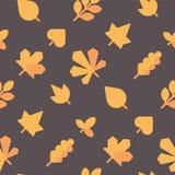 Reticolo senza giunte dei fogli di autunno La caduta lascia il contesto piano delle icone illustrazione di stock