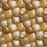 Reticolo senza giunte dei Seashells fondo marino dell'acquerello Vita subacquea del mare illustrazione di stock