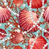 Reticolo senza giunte dei Seashells fondo marino dell'acquerello Vita subacquea del mare royalty illustrazione gratis