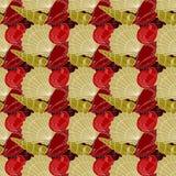 Reticolo senza giunte dei Seashells Rosso, oro, bianco illustrazione vettoriale