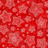 Reticolo senza giunte dei stella-fiocchi di neve disegnati a mano Fotografia Stock