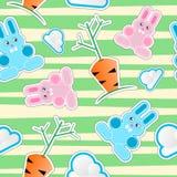 Reticolo senza giunte del bambino con i coniglietti, nubi, carote Immagini Stock