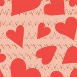 Reticolo senza giunte del cuore Illustrazione di amore di vettore San Valentino, nozze, album per ritagli, carta da imballaggio d illustrazione di stock