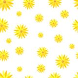 Reticolo senza giunte del fiore giallo Fiori astratti su una priorità bassa bianca royalty illustrazione gratis