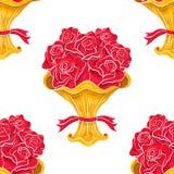 Reticolo senza giunte del mazzo delle rose su bianco Fotografia Stock