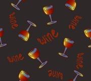 Reticolo senza giunte del vino Vetri di vino bevande variopinte concettuali dell'alcool che ripetono fondo per il web e lo scopo  illustrazione vettoriale