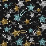 Reticolo senza giunte della stella La spazzola dell'inchiostro del tessuto segna la struttura nello stile di lerciume di scaraboc royalty illustrazione gratis