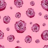 Reticolo senza giunte delle rose Modello senza cuciture con le rose rosse su un fondo rosa Rose rosse su un fondo rosa illustrazione vettoriale