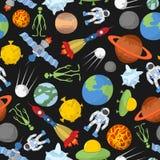 Reticolo senza giunte dello spazio I pianeti ed i razzi, UFO e lo straniero, saziano Fotografia Stock