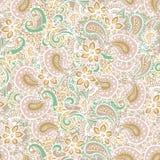 Reticolo senza giunte di Paisley Modello di fiori di Paisley Paisley disegnata a mano Modello di mehndi del hennè Picchiettio di  Fotografia Stock Libera da Diritti