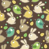 Reticolo senza giunte di pasqua con i conigli Immagini Stock Libere da Diritti