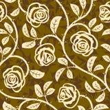 Reticolo senza giunte di ripetizione di vettore dei fiori della Rosa Fotografie Stock Libere da Diritti