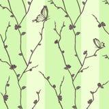 Reticolo senza giunte di vettore con le farfalle su sakura illustrazione di stock