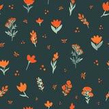 Reticolo senza giunte di vettore floreale Wildflowers arancio su fondo scuro Il modello elegante per le stampe di modo Immagini Stock