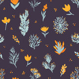 Reticolo senza giunte di vettore floreale Wildflowers e piante su fondo scuro Il modello elegante per le stampe di modo Fotografie Stock Libere da Diritti