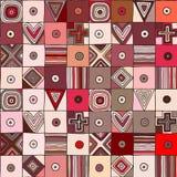 Reticolo senza giunte di vettore Fondo disegnato a mano geometrico rosso con le figure, quadrati, cuori, triangolo, incrocio, pun illustrazione vettoriale