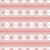 Reticolo senza giunte di vettore Fondo geometrico simmetrico con i quadrati ed i fiori rosa sul contesto bianco Ornamento decorat Fotografie Stock Libere da Diritti