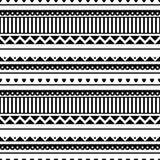 Reticolo senza giunte di vettore Fondo tradizionale in bianco e nero di etno illustrazione di stock