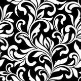 Reticolo senza giunte elegante Trafori dei turbinii e delle foglie decorative su un fondo nero Stile dell'annata royalty illustrazione gratis