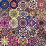 Reticolo senza giunte Elementi decorativi dell'annata Fondo disegnato a mano Islam, arabo, indiano, motivi dell'ottomano Perfezio illustrazione vettoriale