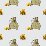 Reticolo senza giunte Elementi del disegno della mano dei soldi Immagine Stock