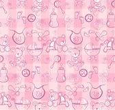 Reticolo senza giunte - elementi svegli di colore rosa di bambino Fotografia Stock