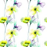 Reticolo senza giunte floreale illustrazione di stock