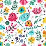 Reticolo senza giunte floreale Carta da parati d'annata di struttura del fiore floreale botanico variopinto dei fiori del giardin illustrazione vettoriale