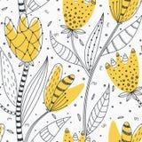 Reticolo senza giunte floreale Fiori astratti creativi disegnati a mano con la decorazione di scarabocchio Progettazione artistic illustrazione vettoriale