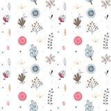 Reticolo senza giunte floreale Fiori creativi disegnati a mano Fondo artistico variopinto con il fiore Erba astratta illustrazione di stock