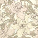Reticolo senza giunte floreale Fondo di scarabocchio del fiore Engra floreale Fotografia Stock Libera da Diritti