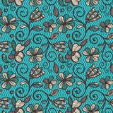 Reticolo senza giunte floreale Mandale etniche variopinte nei colori marroni, beige e blu Ornamento di vettore di arabesque Fotografie Stock Libere da Diritti