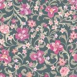Reticolo senza giunte floreale Priorità bassa del fiore Fiorisca l'ornamento del damasco della natura illustrazione vettoriale