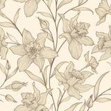 Reticolo senza giunte floreale Priorità bassa del fiore Ornamento floreale delle mattonelle Immagine Stock Libera da Diritti