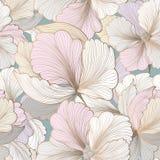 Reticolo senza giunte floreale Priorità bassa del fiore Testo del giardino di Flourish Fotografie Stock