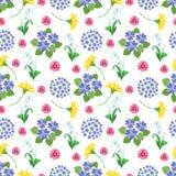 Reticolo senza giunte floreale Struttura d'annata della stampa romantica botanica dei fiori del giardino di estate e della primav royalty illustrazione gratis