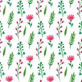 Reticolo senza giunte floreale sveglio L'estate fiorisce, rami e foglie Vector la pittura dell'acquerello, per la carta da parati Immagine Stock Libera da Diritti