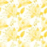 Reticolo senza giunte Insieme dei rami del fiore Fiore di Rosa, foglie Concetto di nozze con i fiori Manifesto floreale, invito w illustrazione di stock